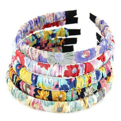 Photograph multicolor flower pattern simple design fabric Hair band hair hoop