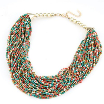 Seamless multicolor beads weave design alloy Beaded Necklaces