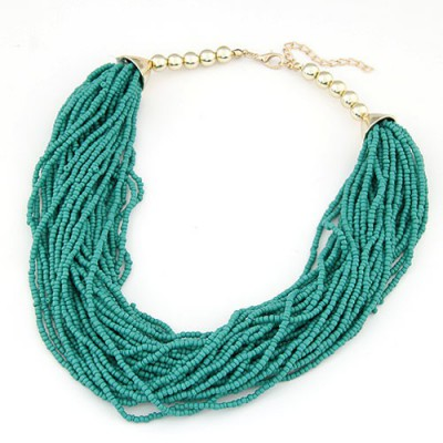 Choker blue beads weave design alloy Beaded Necklaces