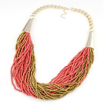 Magnetic red&gold color beads weave design alloy Beaded Necklaces