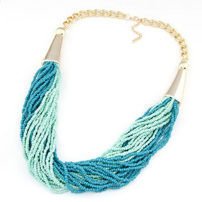 Dancing light green&blue beads weave design alloy Beaded Necklaces