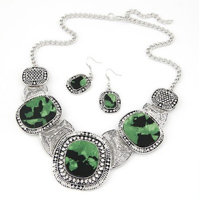 Wedding dark green gemstone decorated round design alloy Jewelry Sets