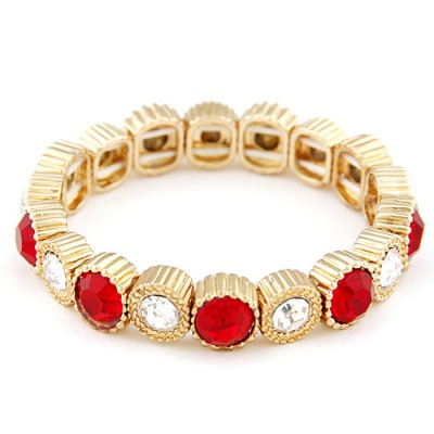 Cardboard claret-red CZ diamond decorated round shape design alloy Fashion Bracelets