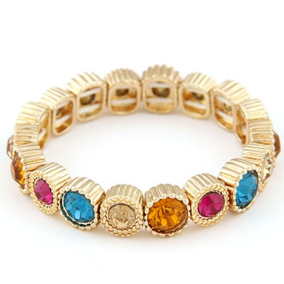 Bohemian multicolor CZ diamond decorated round shape design alloy Fashion Bracelets