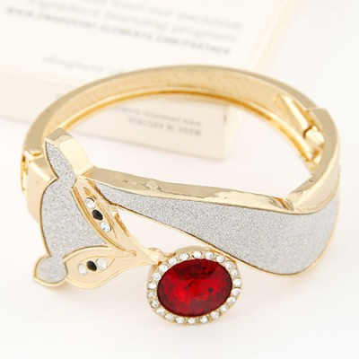 Birthing claret-red CZ diamond decorated fox shape design alloy Fashion Bangles