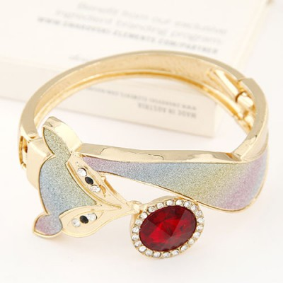 Sparking claret-red CZ diamond decorated fox shape design alloy Fashion Bangles