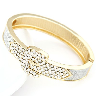 Mobile silver CZ diamond decorated Belt buckle design alloy Fashion Bangles