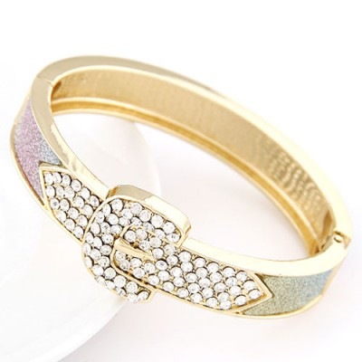 Art multicolor CZ diamond decorated Belt buckle design alloy Fashion Bangles