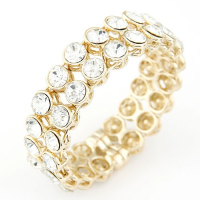Torrid white CZ diamond decorated Double row design alloy Fashion Bangles
