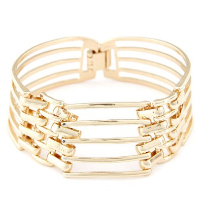 Adjustable Champagne gold multi-lever simple design alloy Korean Fashion Bracelet