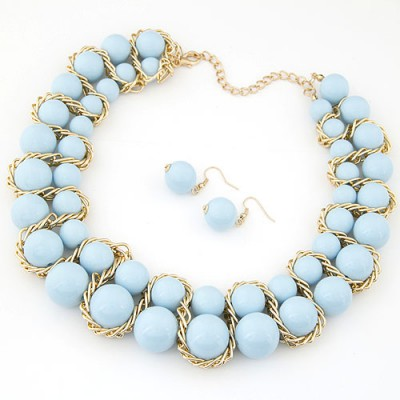 Memorial light blue Beads weave decorated simple design alloy Jewelry Sets