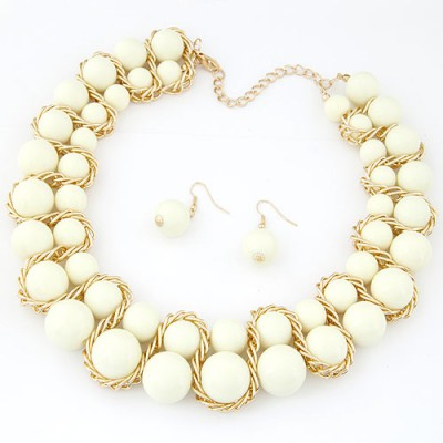 Scrapbooki white Beads weave decorated simple design alloy Jewelry Sets