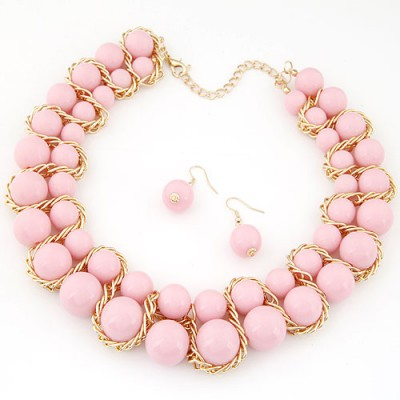 Lace pink Beads weave decorated simple design alloy Jewelry Sets