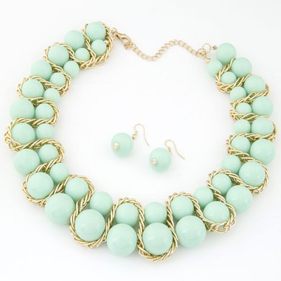 Everlas light green Beads weave decorated simple design alloy Jewelry Sets