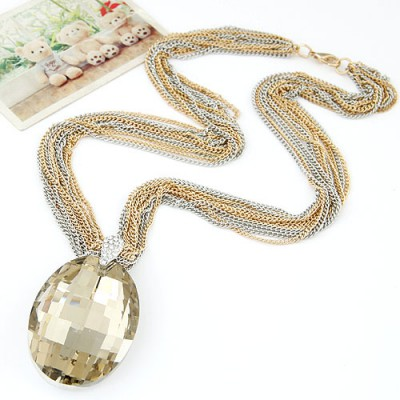 Square light coffee waterdrop pendant decorated simple design alloy Bib Necklaces