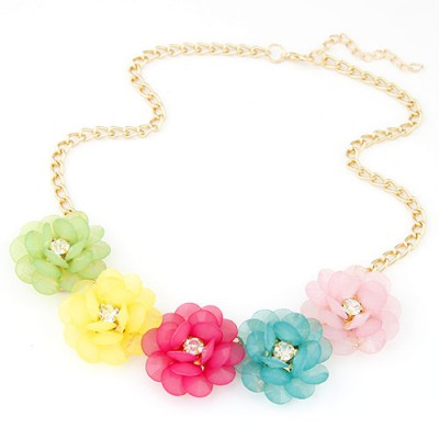Handcrafte multicolor CZ diamond decorated flower design alloy Bib Necklaces