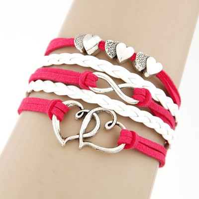 Roll plum red heart shape decorated Multi-layer weave design alloy Korean Fashion Bracelet