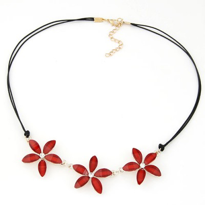 Puritan red flower decorated simple design alloy Bib Necklaces