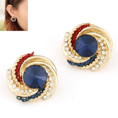 Glueless dark blue CZ diamond decorated spiral design alloy Stud Earrings