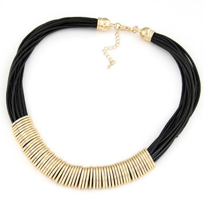 Alternativ gold color Metal ring decorated multilayer design alloy Bib Necklaces
