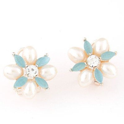 Awesome light blue pearl decorated flower design alloy Stud Earrings