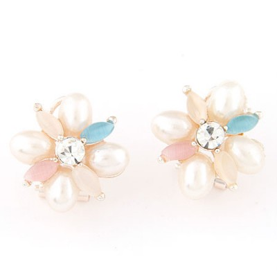 Ruby multicolor pearl decorated flower design alloy Stud Earrings