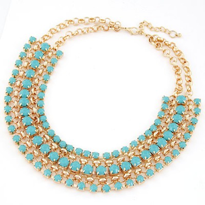 Punk blue gemstone decorated multilayer design alloy Bib Necklaces
