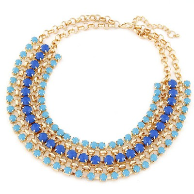Glossy blue gemstone decorated multilayer design alloy Bib Necklaces