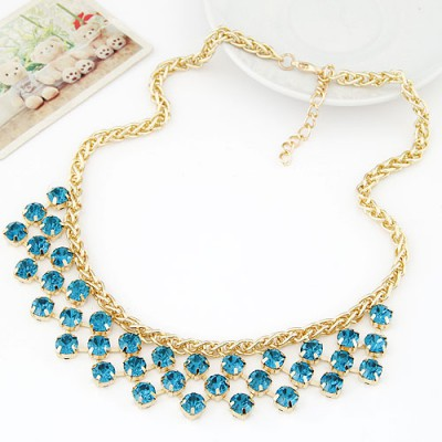 Drawstring navy blue CZ diamond decorated Multi-level design alloy Bib Necklaces
