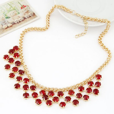 Display claret-red CZ diamond decorated Multi-level design alloy Bib Necklaces
