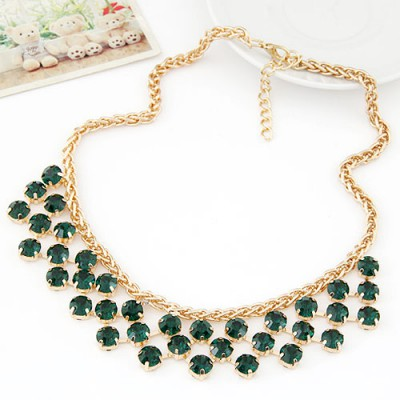 Scene dark green CZ diamond decorated Multi-level design alloy Bib Necklaces
