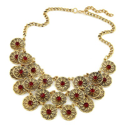 Daisy red CZ diamond decorated flower design alloy Bib Necklaces
