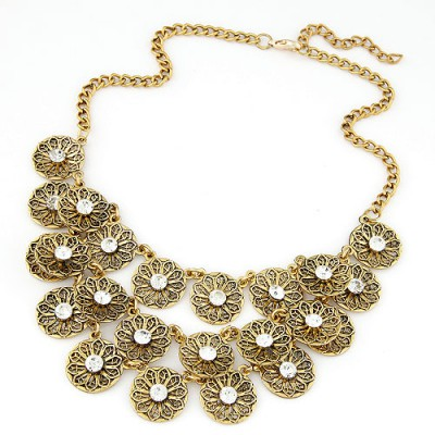 Retro white CZ diamond decorated flower design alloy Bib Necklaces