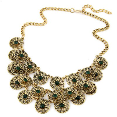 Scrabble dark green CZ diamond decorated flower design alloy Bib Necklaces