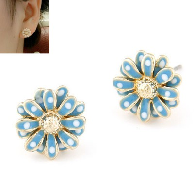 Discount blue CZ diamond decorated flower design alloy Stud Earrings