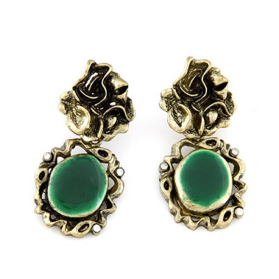 Attractive green gemstone decorated mirror design alloy Stud Earrings