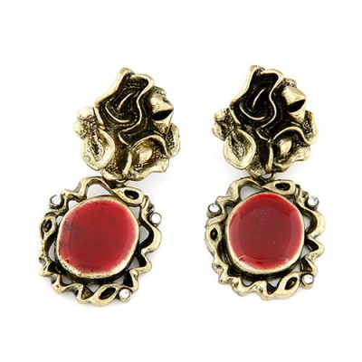 Wholesale red gemstone decorated mirror design alloy Stud Earrings