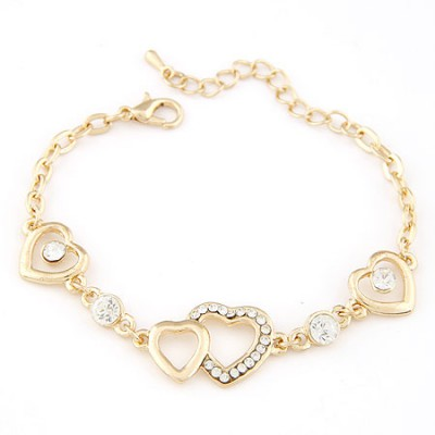 Roll gold color CZ diamond decorated Heart to heart design alloy Korean Fashion Bracelet