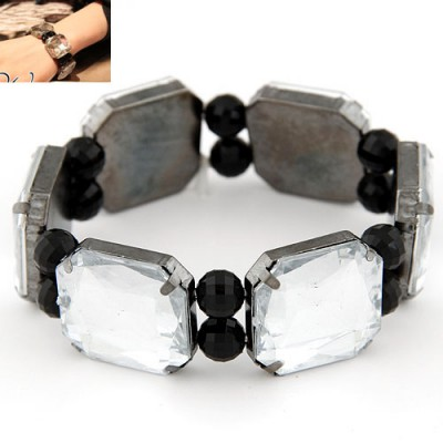 Afrocentri white gemstone decorated square shape design alloy Fashion Bangles