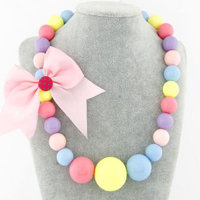 Graduated multicolor bowknot decorated candy color design rosin Beaded Necklaces