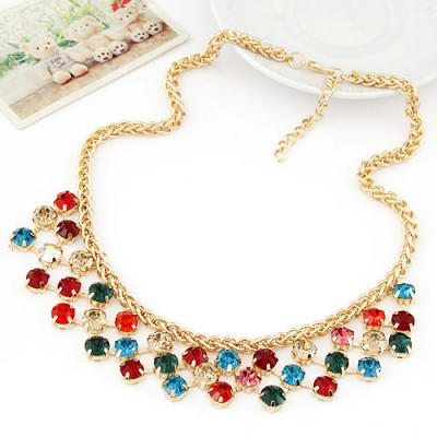 Charm multicolor CZ diamond decorated Multi-level design alloy Bib Necklaces