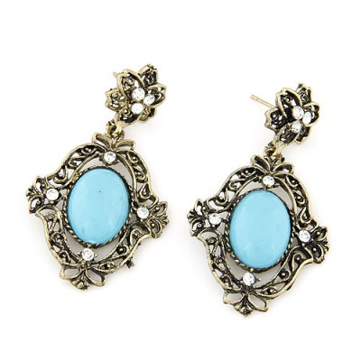 Wedding light blue gemstone decorated Hollow out design alloy Stud Earrings