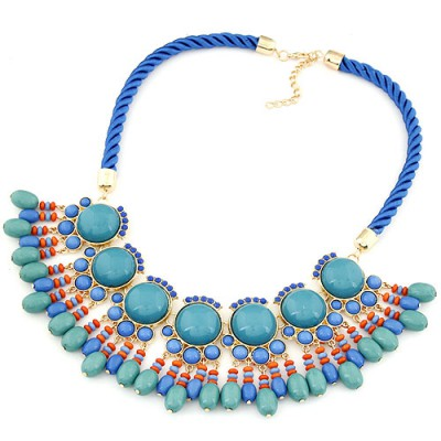 Digital light blue gemstone decorated Fan-shaped tassel design