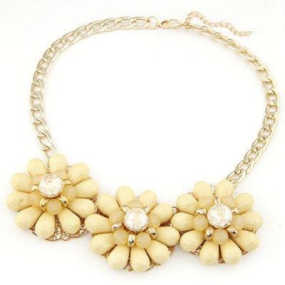 Male light yellow gemstone decorated flower design alloy Bib Necklaces