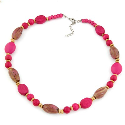Legal plum red beads decorated simple design alloy Beaded Necklaces