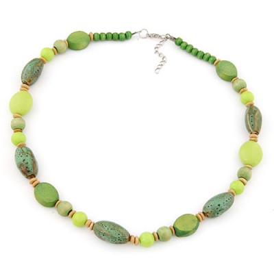 Embossed light green beads decorated simple design alloy Beaded Necklaces