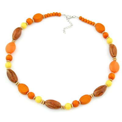 Fake orange beads decorated simple design alloy Beaded Necklaces