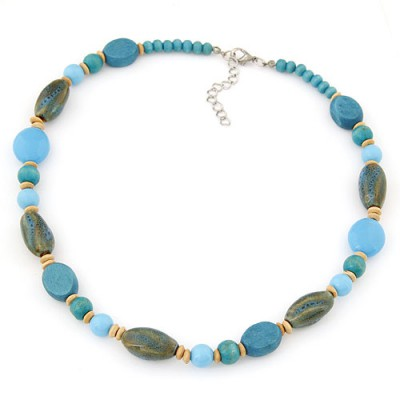 Etcetera blue beads decorated simple design alloy Beaded Necklaces