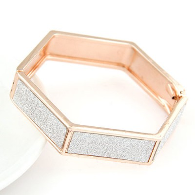 Floral rose gold metal decorated Hexagon design alloy Fashion Bangles