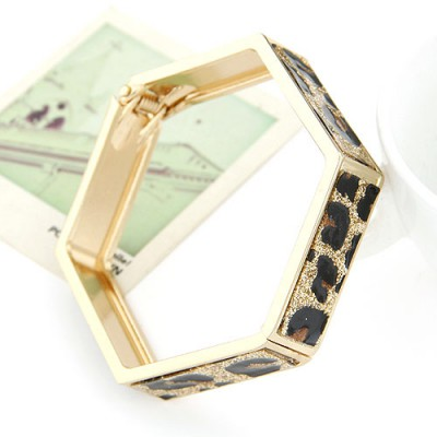 Rent Leopard metal decorated Hexagon design alloy Fashion Bangles